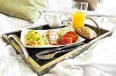 foto of scrambled eggs  - Healthy breakfast served to bed  - JPG