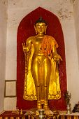 Ancient Golden Buddha in The Shwezigon Pagoda