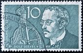 GERMANY - CIRCA 1958: A stamp printed in Germany shows Rudolf Diesel circa 1958