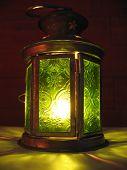 A Green Shining Hand Lantern.