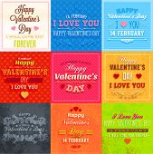 Happy Valentines Day Cards Set for Vintage Holiday Labels Design. Retro Paper Textures. Vector Illustration.
