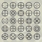 Vector Isolated Crosshairs Set On Military Background