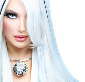 Beauty Fashion Girl black and white style. Long White Hair with Black Stripes. Smoky Eyes Makeup Lux