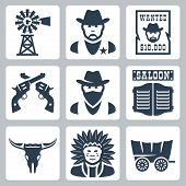 image of indian chief  - Vector isolated western icons set - JPG