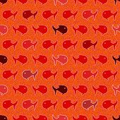 Seamless abstract pattern, wits red and orage fish