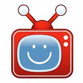 Smiley retro TV button