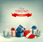 Christmas winter background with presents. Raster version