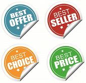 Best Offer, Best Seller , Best Choice And Best Price Colorful Labels