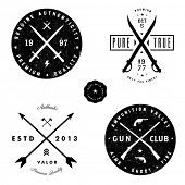 foto of guns  - Vector gun and arrow badge set - JPG