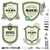 Vector money frame and badge template set. Great for financial themes, diplomas, certificates, and a