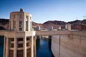 Hoover Dam Towers on Colorado River, Lake Mead scenic landscape vista