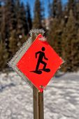 Snowshoe Sign in Winter