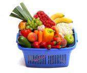 A Shopping Basket Full Of Fresh Produce.