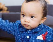 Asian baby boy staring at something
