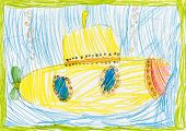 yellow submarine. child sketch
