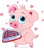 Cute little piglet holding a heart shape valentine box of chocolates