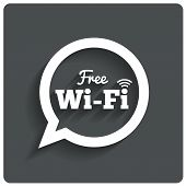 Free wi-fi icon. Wifi speech bubble. Wireless zone