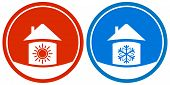 icons with sun and snowflake on house