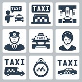 Vector Isolated Taxi Icons Set