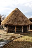 pic of household farm  - Old authentic village with wooden houses and straw on roof - JPG