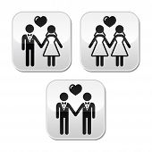 foto of hetero  - Newlywed couples vector buttons isolated on white - JPG