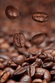 Four Falling Beans And Roasted Coffee
