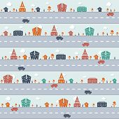 Repeating Pattern Child's City Town Scene