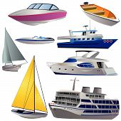pic of cruise ship  - Vector illustration of 8 different boat types isolated on white background - JPG