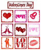 Stamps With Symbols Of Love