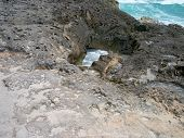 An opening in the coral rocks at Cozumel, Mexico