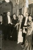 GANSERNDORF, AUSTRIA, CIRCA THIRTIES: Vintage photo of group of people during an elegant party, Gans