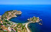 Aerial View Of Isola Bella Beach Coast In Taormina, Sicily