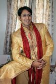 stock photo of sherwani  - An Indian groom wearing the traditional sherwani attire - JPG