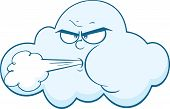 Cloud With Face Blowing Wind Cartoon Mascot Character
