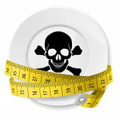 stock photo of skull cross bones  - Plate with measuring tape and skull with crossed bones - JPG