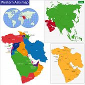 Color map of Western Asia divided by the countries