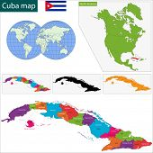 Colorful Cuba map with provinces and capital cities