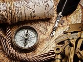 foto of vintage antique book  - vintage still life with compass - JPG
