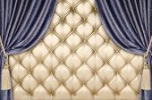 picture of tassels  - golden upholstery blue curtains with supports and tassels - JPG