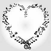 image of mozart  - vector illustration black background notes of music heart - JPG