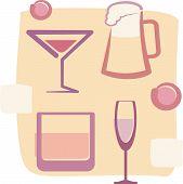 Retro Style illustration of Drinks