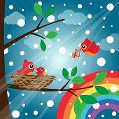 Christmas birds with rainbow