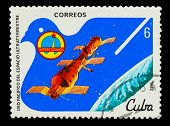 CUBA - CIRCA 1982: A stamp printed in CUBA, docking of spacecraf