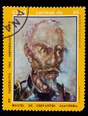 CIRCA 1972: A post stamp printed in CUBA , showing artist