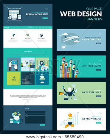 Set For Website Design That Includes One Page Template Responsive And Of Flat Concept Ilrations Banners Poster