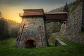stock photo of blast-furnace  - Construction of the Charcoal Ironworks Known as Frantiscina Hut near Adamov Czech Republic - JPG