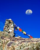 image of manali-leh road  - Buddhist stone tower with praying flags at Himalaya mountain road pass at Manali  - JPG