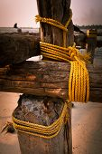 Coarse Coconut Rope Holds The Wooden Blocks