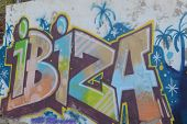 Ibiza sprayed writing on wall