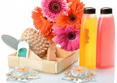 Items for body care, spa bath, sauna, massage and gerbera flowers